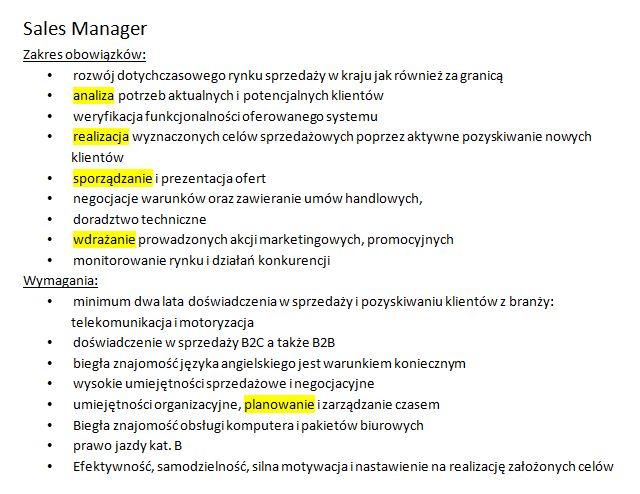 sales manager_czasowniki