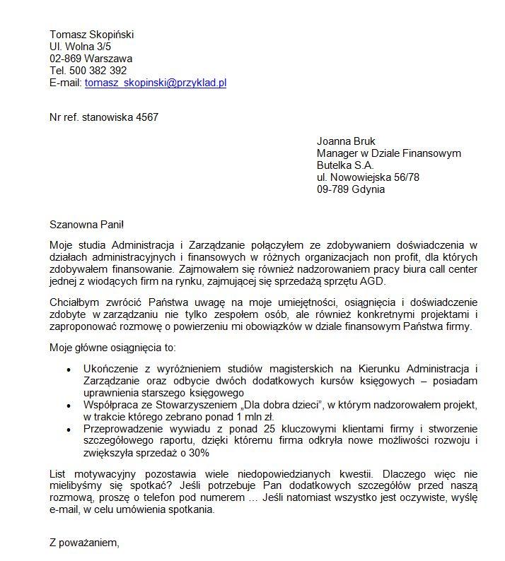 list motywacyjny Asystent w Dziale Finansowym - przykład