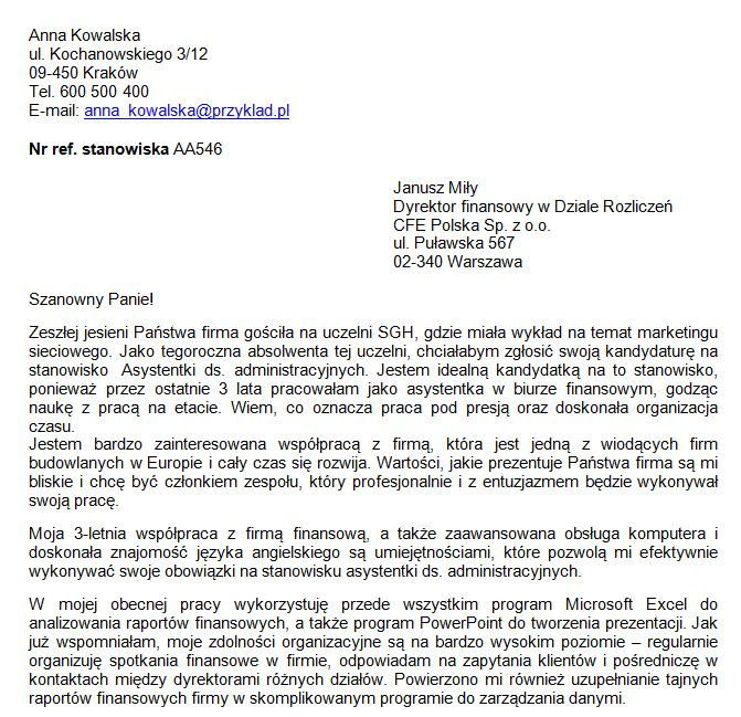 list motywacyjny Asystentka ds. Administracyjnych - przykład