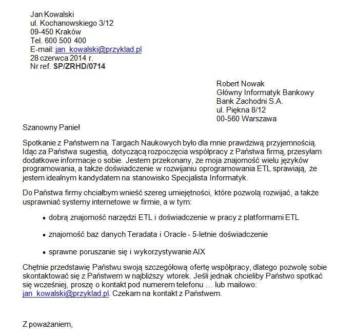 list motywacyjny informatyk - przykład