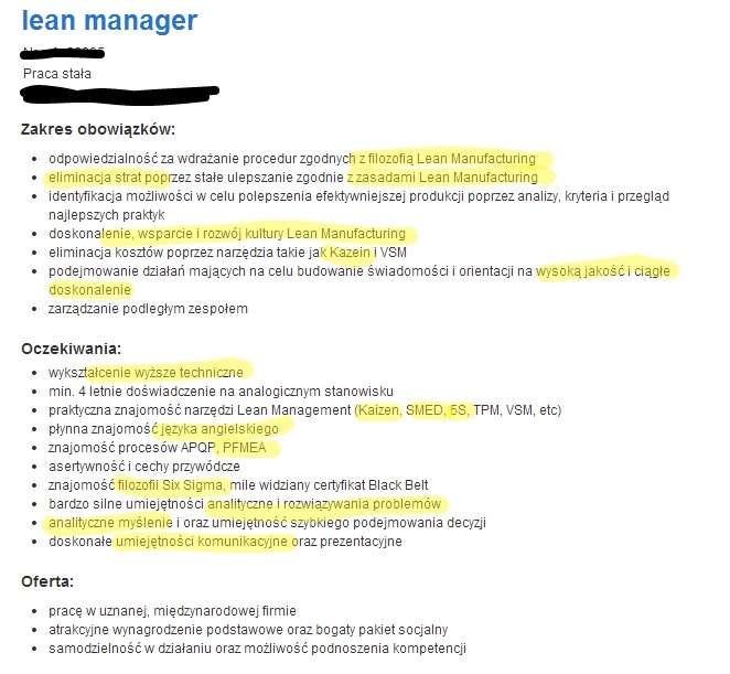 przyk u0142ad cv dla lean managera  krok po kroku
