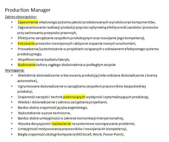 production manager-czasowniki