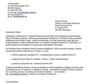 List Motywacyjny Informatyk – przykład